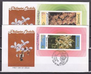 Philippines, Scott cat. 2246-2247. Orchids s/sheets. 2 First day covers. ^
