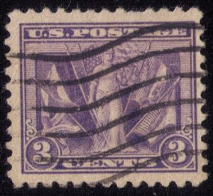 US Scott #537a Used 1919 3c Victory and Flags Rare Deep Red Violet F-VF