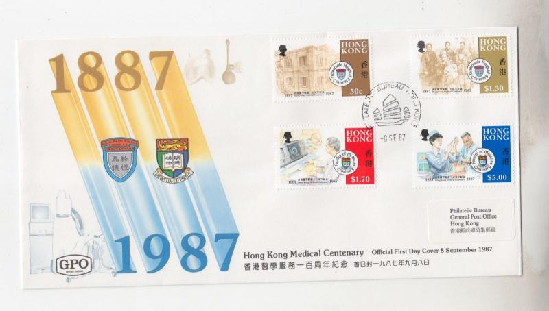 HONG KONG,1987 Medical Centenaries set of 4 on fdc.