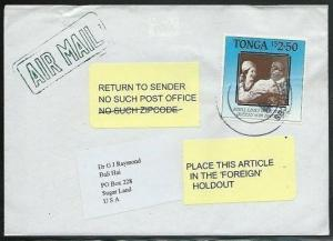 TONGA 2005 airmail cover to USA - Returned - No Such Post Office...........38096