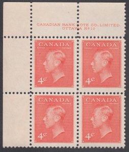 Canada - #306 King George VI Plate Block #12 - MNH