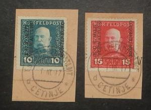 Montenegro 1N1-2. 1917 10h-15h Austrian Occupation, used