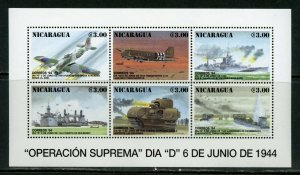 NICARAGUA 50th ANN OF THE D DAY INVASION WW II  SHEET MINT NH