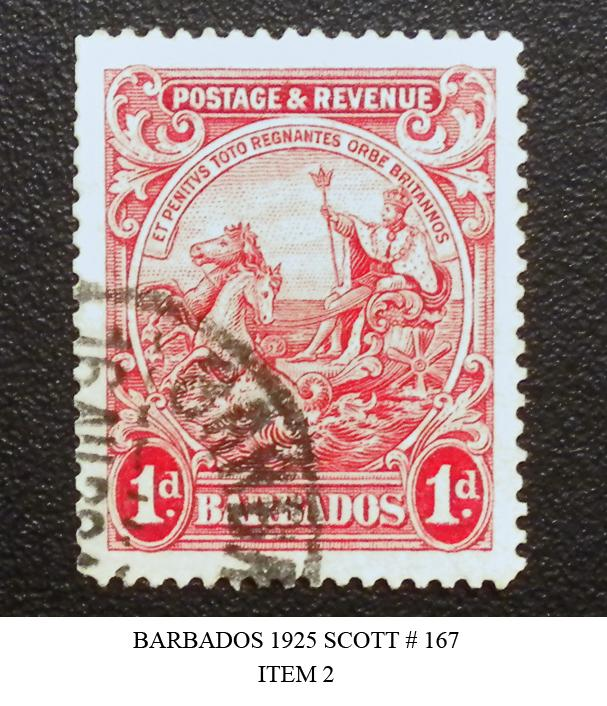 BARBADOS POSTAGE DUE STAMP 1925-35. SCOTT # 167. USED. ITEM 2