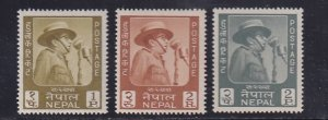 Nepal  #173-175  MNH  1964  king speaking before microphone