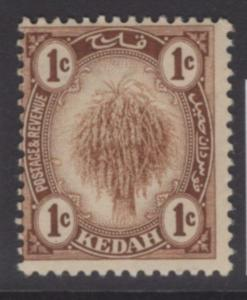 MALAYA KEDAH SG15 1919 1c BROWN MTD MINT
