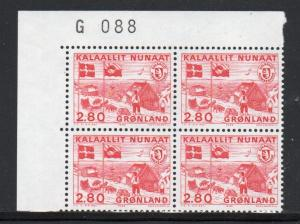 Greenland Sc 164 2.8 kr 1986 Postal Home Rule number block of 4 mint NH