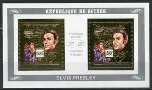 GUINEA 15th MEMORIAL ANN OF ELVIS PRESLEY GOLD FOIL COLLECTIVE SHEET MINT NH