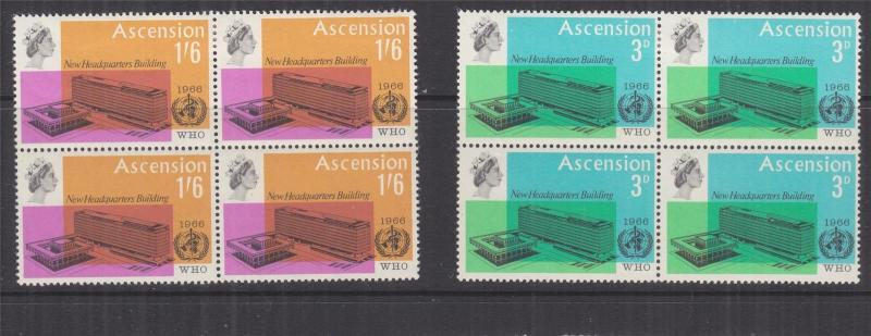 ASCENSION, 1966 WHO Headquarters pair in blocks of 4, mnh./lhm.