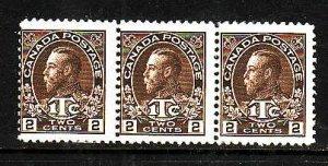 Canada-Sc#MR4-Unused 2c + 1c brown war tax strip of 3-KGV-og-hinged-1916-Cdn741-