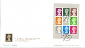 Great Britain 2017 FDC  Machin 50th Anniversary Miniature Sheets (2)