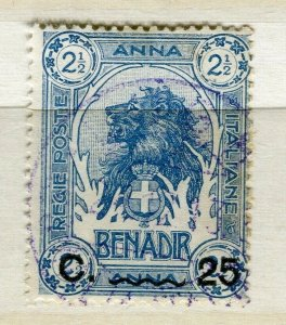 ITALY; SOMALIA early 1900s pictorial Lion type 25c. used value