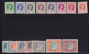 Rhodesia & Ny Scott # 141-155 VF OG never hinged nice color cv $ 134 ! see pic !