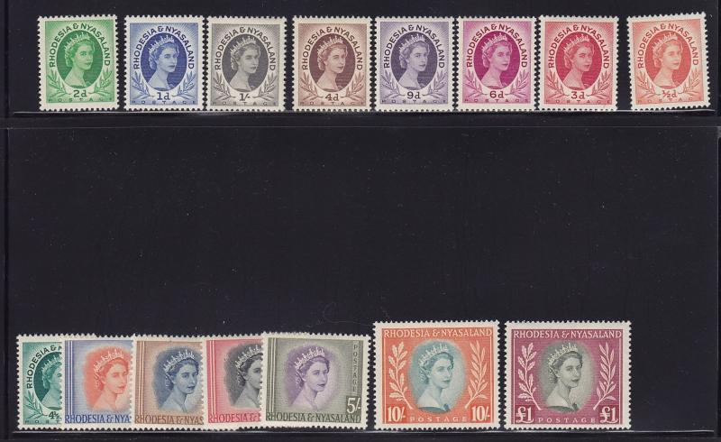 Rhodesia & Ny Scott # 141-155 VF OG never hinged nice color cv $ 134 ! see pic !