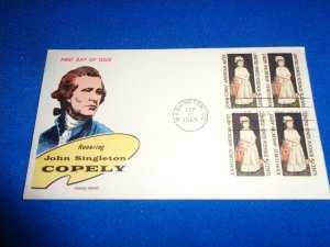 FLEUGEL MULTI COLORED CACHET FDC:  US SCOTT# 1273 BLOCK OF 4