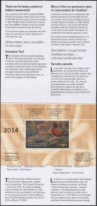 CANADA 2014 DUCK STAMP MINT IN FOLDER AS ISSUED CINNAMON TEAL by Lori Boast