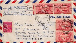 Airmail Issues 6c Powered Flight (4) with 2c Adams Prexie 1954 Dallas, Tex. ...