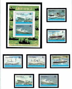 Dominica 434-40a MNH 1975 Ships with S/S