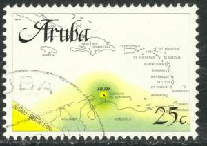ARUBA 1986 25c MAP From INDEPENDENCE Issue Sc 18 VFU