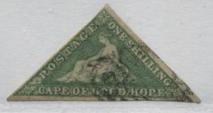 Cape of Good Hope 1858 1/ green on white paper with 3 good to large margins used