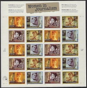 Catalog #3665 68 Sheet of 20 Stamps Women in Journalism Tarbell Bly Higgins Payn