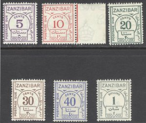 Zanzibar 1936 5c-1s Post Due ORD PAP SG D25-30 Sc J18-23 VLMM/MVLH Cat£55($77)