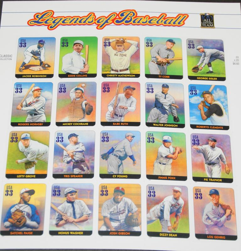 2000 sheet of stamps, Legends of Baseball, Sc# 3408