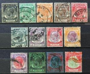 MALAYA 1936-37 STRAITS SETTLEMENTS KGV 13V 1c-$2 USED M2556