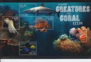 2012 Palau Dangerous Sea Creatures MS5 (Scott 1072) MNH