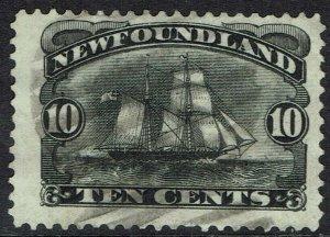 NEWFOUNDLAND 1887 SHIP 10C USED