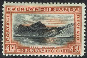 FALKLAND ISLANDS 1933 CENTENARY 4D SOUTH GEORGIA