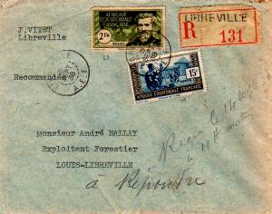 French Equatorial Africa 15c People of Chad and 2F Crampel 1938 Libreville, A...