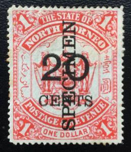 Malaya North Borneo 1895 SPECIMEN 20c opt $1 SG#89 M1974