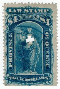 (I.B) Canada Revenue : Quebec Law Stamp $4 (1871)