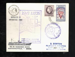 1968 Ross Dependency MS MAGGA DAN cover Buenos Aires #L7 #L8 Lindblad Travel