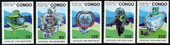 HERRICKSTAMP CONGO Sc.# 1021-25 Submarines Wholesale Lot of 3