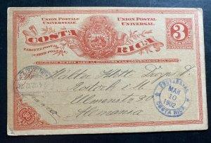 1902 Costa Rica Postal Stationery Postcard Cover To Germany Via New York