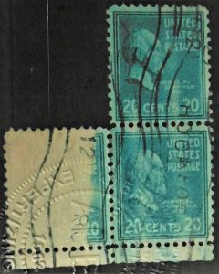 USA #825 VF ERROR BLOCK OF 3 WITH APS CERTIFICATE ACTUALLY USED ON MAIL.