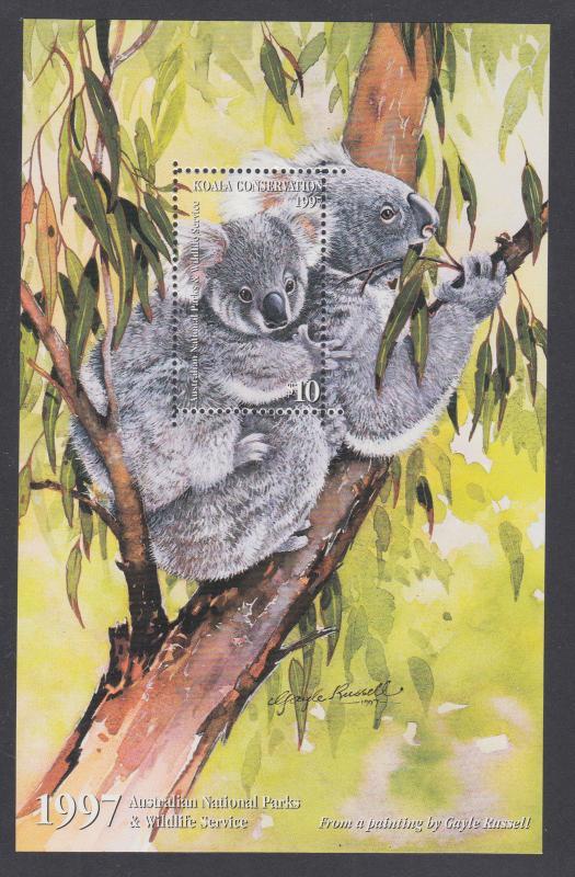 Australia 1997 $10.00  Australian National Parks Koala Conservation sheet, VF