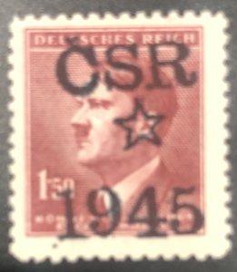 Czech/Germany Occ Proste Jov Local Hitler-Liberation CSR 20k-Ovpt