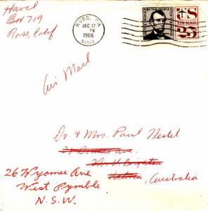 Airmail Issues 25c Lincoln Air Issue 1966 Ross, CA, 94957 Airmail to North B...
