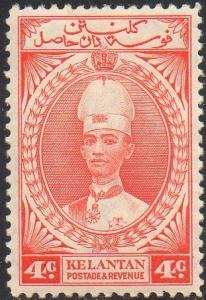 Kelantan 1937 4c scarlet MH