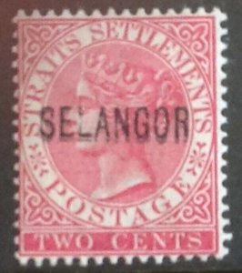 MALAYA SELANGOR 1885 SG31a.CLEAR DOUBLE OVERPRINT LIGHTLY MOUNTED CAT £1100