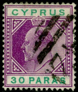 CYPRUS SG63a, 30pa violet & green, FINE USED.
