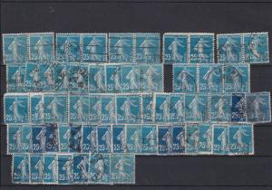 France 1907-20 Sower Redrawn 25c Blue 4 Shades Stamps Ref 31726