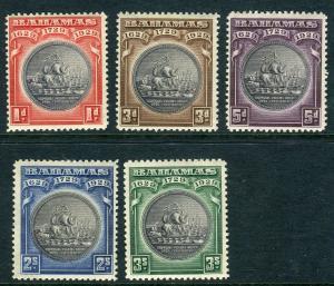 BAHAMAS-1930 Tercentenary.  A mounted mint set Sg 126-130