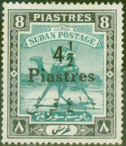 Sudan 1940 4 1/2p on 8p Emerald & Black SG80 Good Mtd Mint