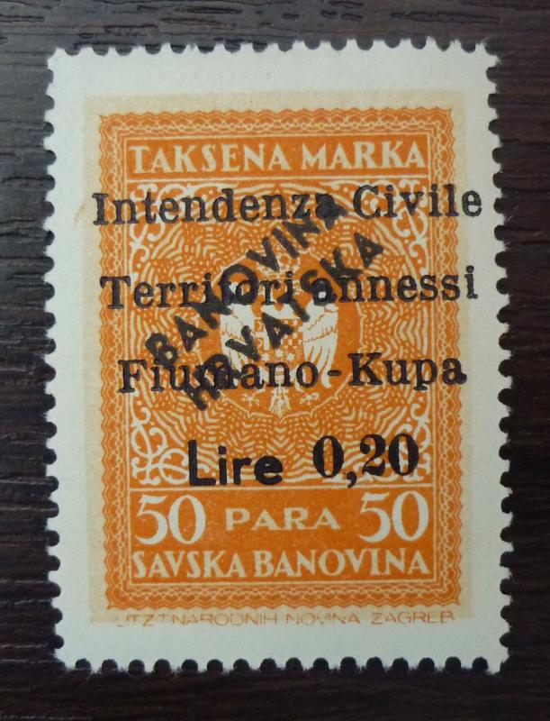 FIUME-WWII-FIUMANO KUPA-ITALY OCCUPATION OF YUGOSLAVIA-REVENUE STAMP R! M23