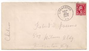 #406 on cover Great Bend PA 1915 pmk Susquehanna Cty content