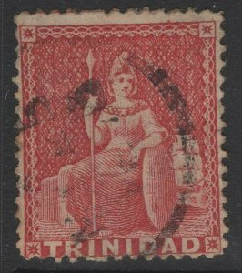 TRINIDAD SG46 1860 1d ROSE-RED USED